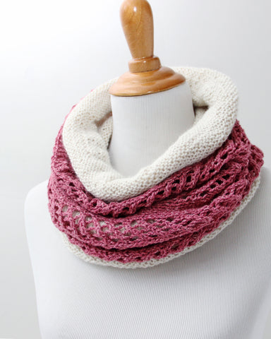 Chevron  &  Fluff Cowl Set - Rose & Ivory - Knit to Order