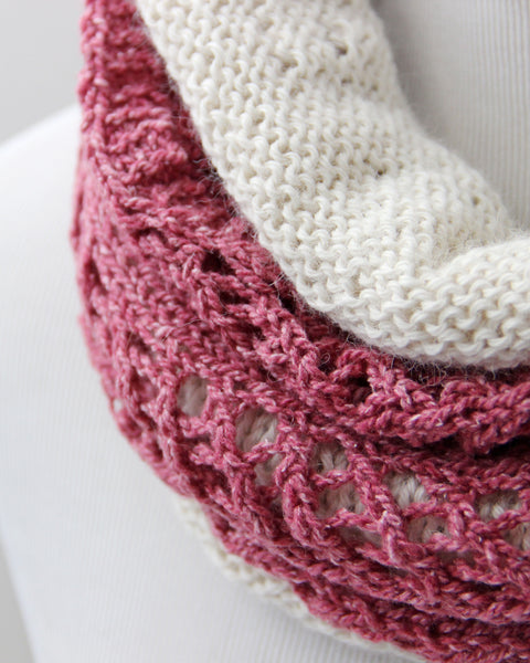 Chevron  &  Fluff Cowl Set - Rose & Ivory