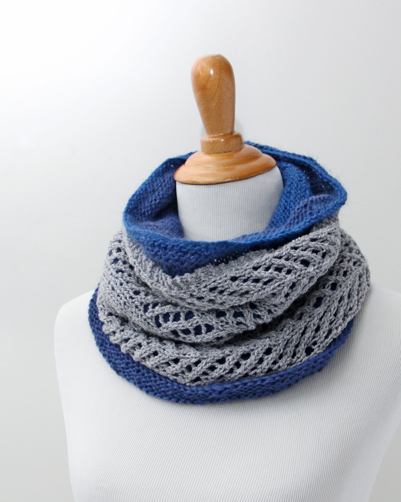 Chevron  &  Fluff Cowl Set - Gray & Deep Sea