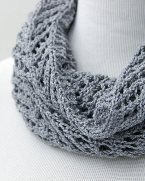 Chevron  &  Fluff Cowl Set - Gray & Deep Sea - Knit to Order