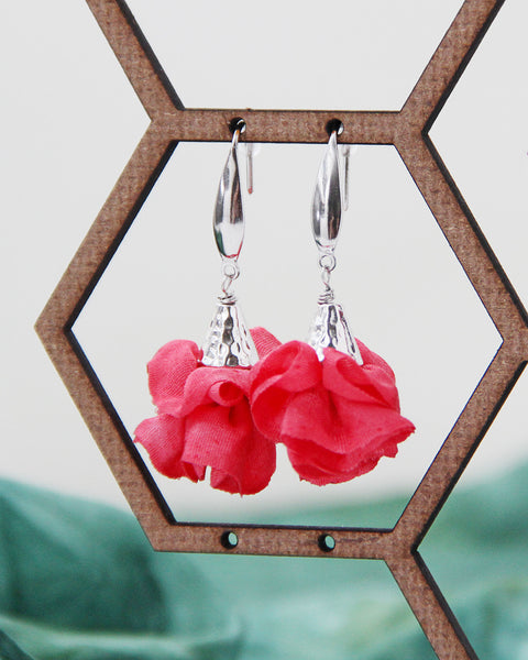 Silk Bloom Earrings - Stainless Steel Double Bloom - Winter Colors