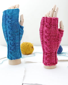 Cable Mitts - Flamingo Pink