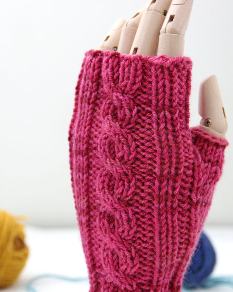 Cable Mitts - Flamingo Pink - Knit to Order