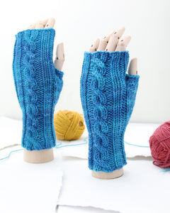 Cable Mitts - Baltic Blue