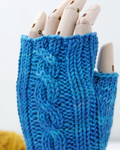 Cable Mitts - Baltic Blue - Knit to Order