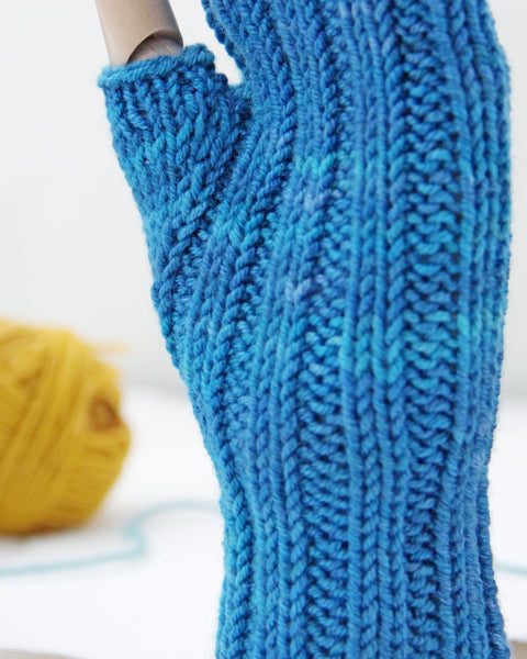 LAST CHANCE Cable Mitts - Baltic Blue