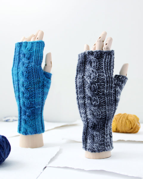 Cable Mitts - Cloud Gray - Knit to Order