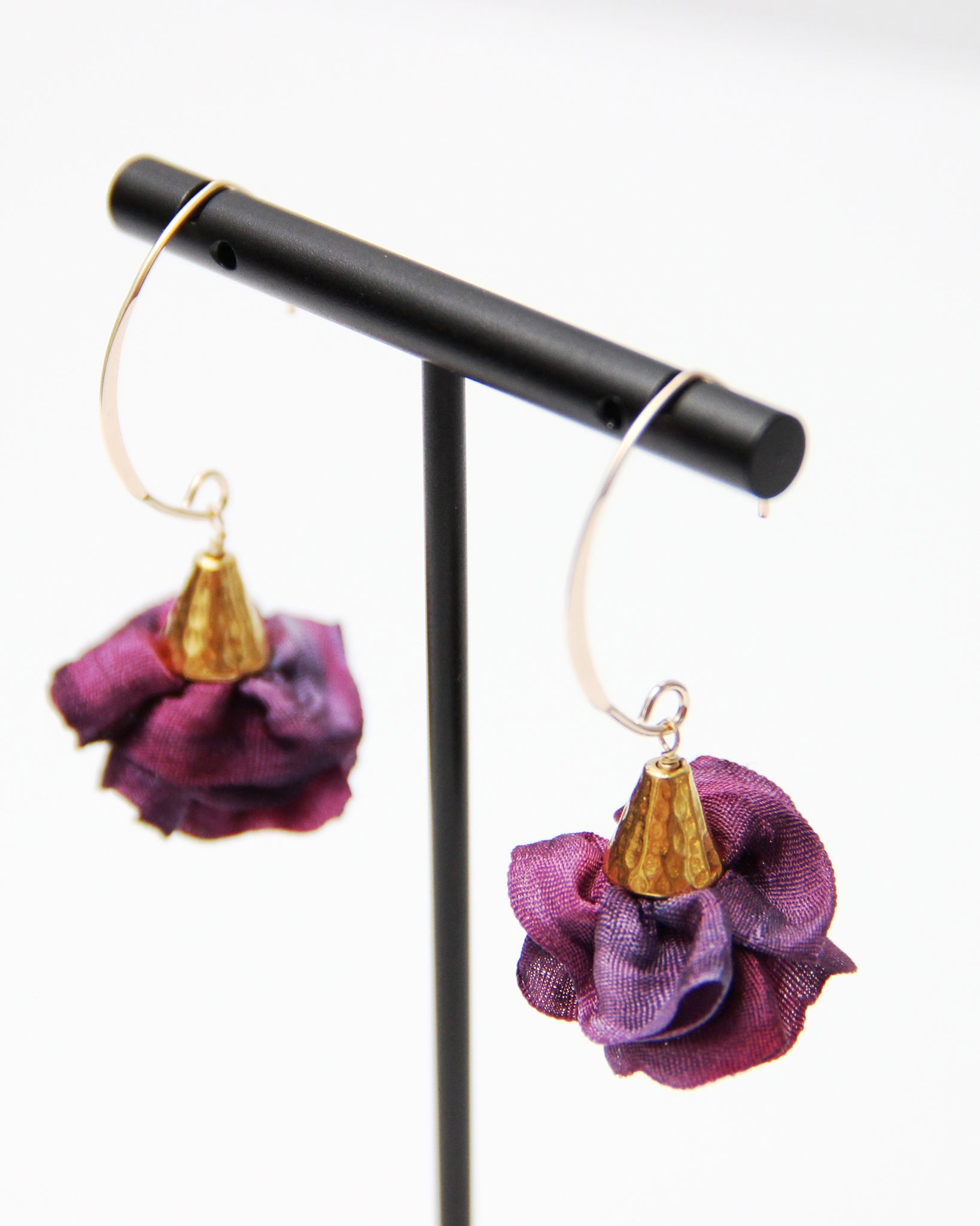 Silk Bloom Earrings - Gold Double Bloom - Moody Purple