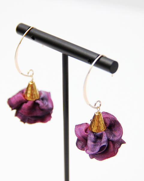 Silk Bloom Earrings - Gold Double Bloom - Winter Colors