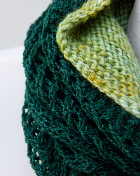 Chevron & Fluffier Cowl Set - Evergreen & Olive