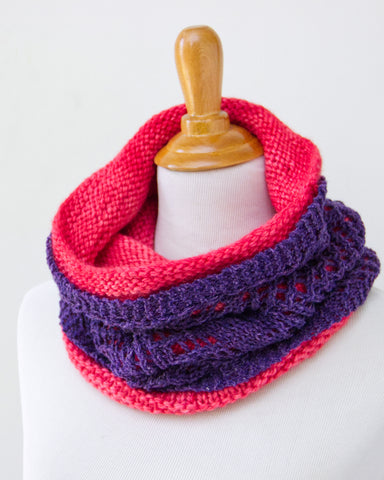 Chevron & Fluffier Cowl Set - Moody Purple & Fuchsia