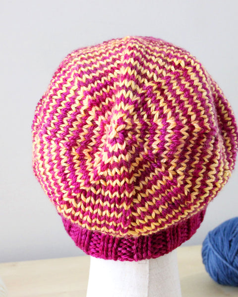 Last Chance Striped Slouch Hat - Fuchsia