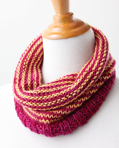 Last Chance Striped Cowl - Fuchsia