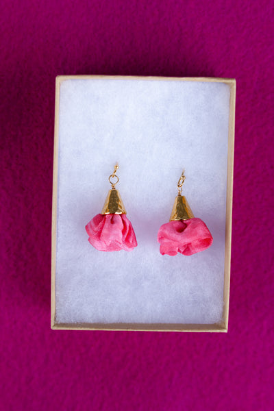 Silk Bloom Earrings - Gold Single Bloom - RTS
