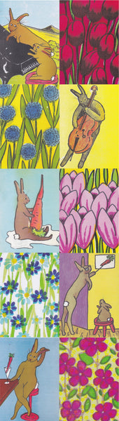 Postcard series - Rabbits & Flowers 1