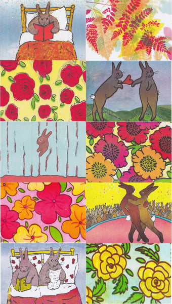 Postcard series - Rabbits & Flowers 2