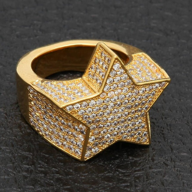 Iced out Star Rings