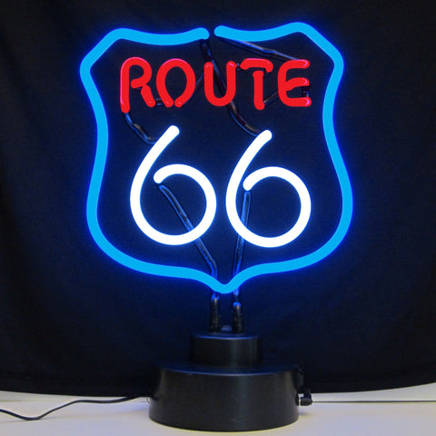 Route 66 Neon Light Sign Sculpture