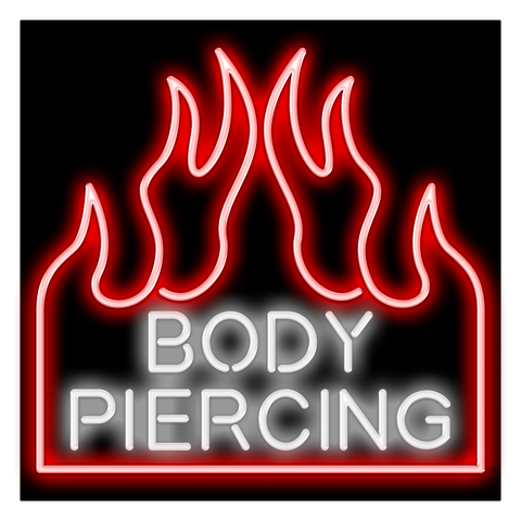 Round Body Piercing Neon Sign