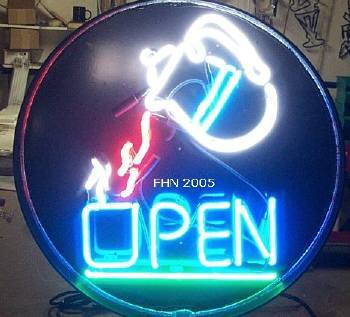 Neon Open Sign Coffee Pot FHN Round