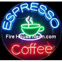 An Espresso Coffee Neon Sign Round