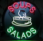 Soups Salads Neon Sign Round