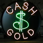 Cash for gold neon sign round