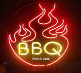 BBQ Neon Sign with Barbeque Flames