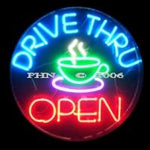 Drive-Thru Coffee Neon Open Sign Round
