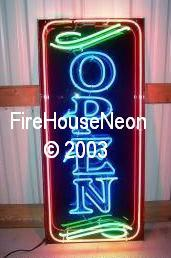 Extra Large Neon Open Sign with Border-Neon Open Signs-Fire House Neon Signs