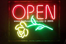 Neon Open Sign with Rose for Florist