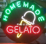 Homemade Gelato Italian Ice Cream Round Neon Sign