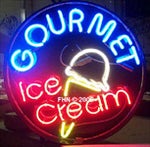 Gourmet Ice Cream Round Neon Sign