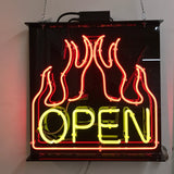 Neon Open Sign With Flames
