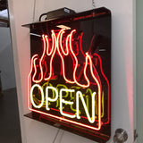 Neon Open Sign Flaming Side View