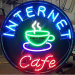 Internet Cafe Coffee Neon Sign Round