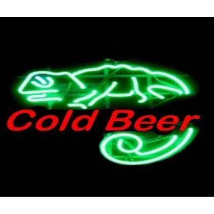 Cold Beer Lizard Neon Sign