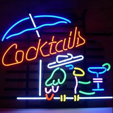 Cocktails Bar with Parrot Neon Bar Sign