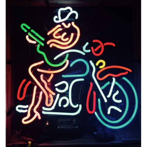 Guitar Playing Cowgirl on Motorcycle Neon Bar Sign
