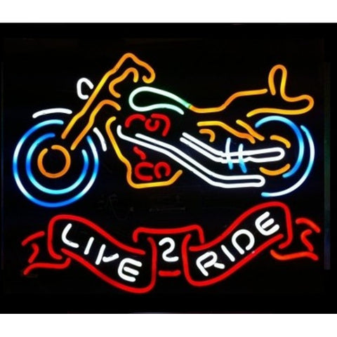 Live to Ride Motorcycle Neon Sign for Biker Bar