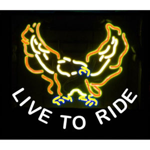Live to Ride Bald Eagle Neon Sign