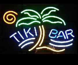 Tiki Bar with palm tree neon light sign