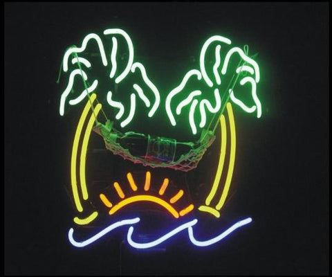 Palm Tree and Hammock Beer Neon Sign