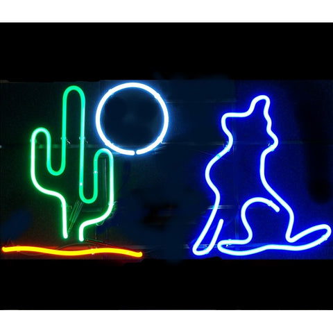 Coyote Cactus Moon Neon Bar Sign Light