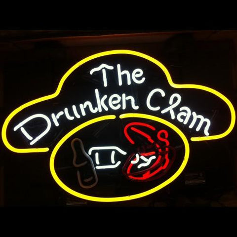 Animated Drunken Clam Neon Sign