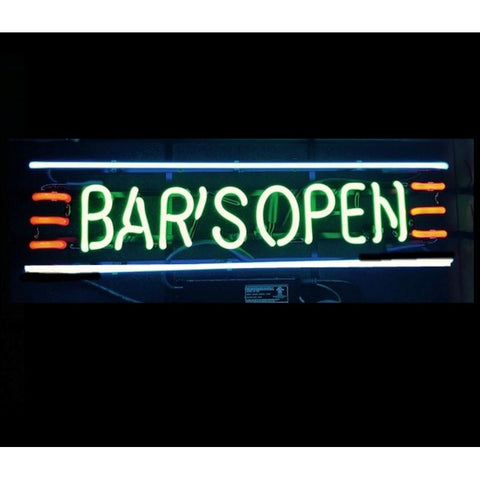 Bars open neon sign light