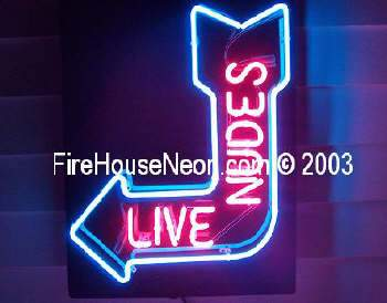 Live Nudes Neon Sign Arrow Pointed Left