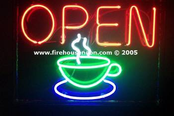 Neon Open Sign with Coffee Cup