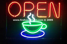 Coffee Cup Neon Open Sign