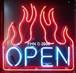 Flaming Neon Open Sign Blue